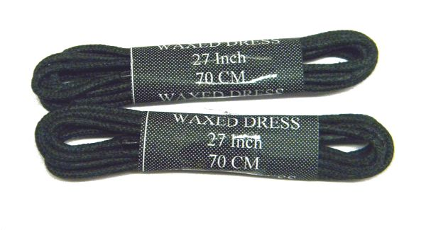 2 Pair - Waxed Wingtip Style Dress Shoelaces 2 mm Round Thin Waxed Laces (Black)