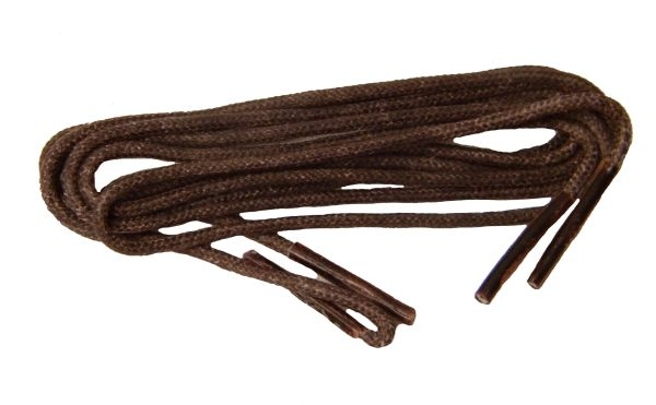 6 Pair - Waxed Wingtip Style Dress Shoelaces 2 mm Round Thin Waxed Laces (Brown)