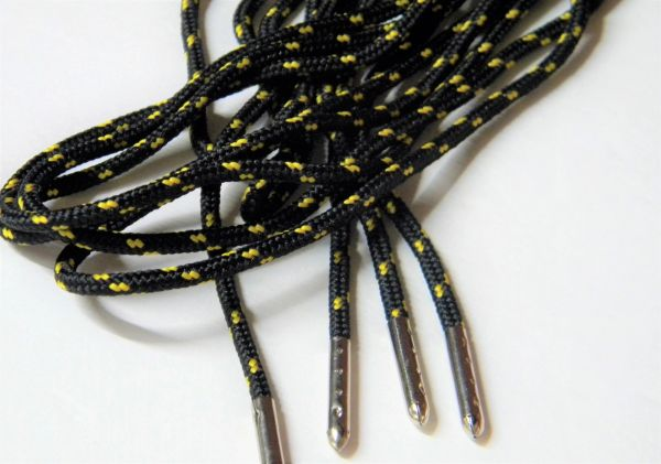 2 pair pack- Black w/ Gold, Silver Steel Tips, Durable Polyester boot laces