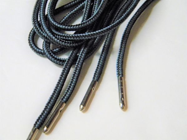 2 pair pack- Black w/ Grey, Silver Steel Tips, Durable Polyester boot laces