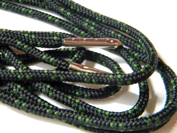 2 pair pack- Black w/ Moss Green, Silver Steel Tips, Durable Polyester boot laces