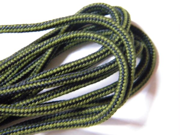 2 pair pack- Olive Green w/ Black, Silver Steel Tips, Durable Polyester boot laces