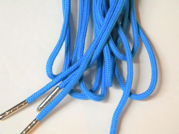 2 pair pack- Neon Blue, Silver Steel Tips, Durable Polyester boot laces