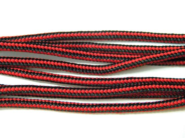 2 pair pack- Red w/ Black, Silver Steel Tips, Durable Polyester boot laces