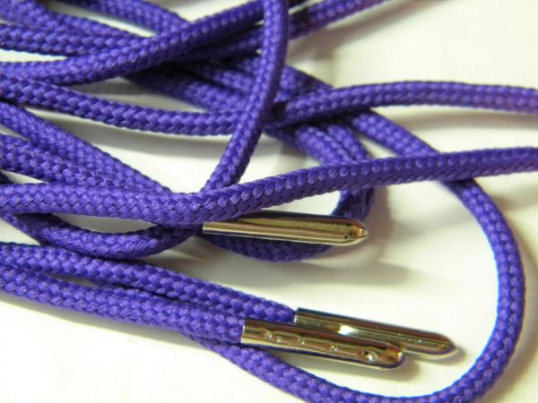 2 pair pack- Royal Purple, Silver Steel Tips, Durable Polyester boot laces