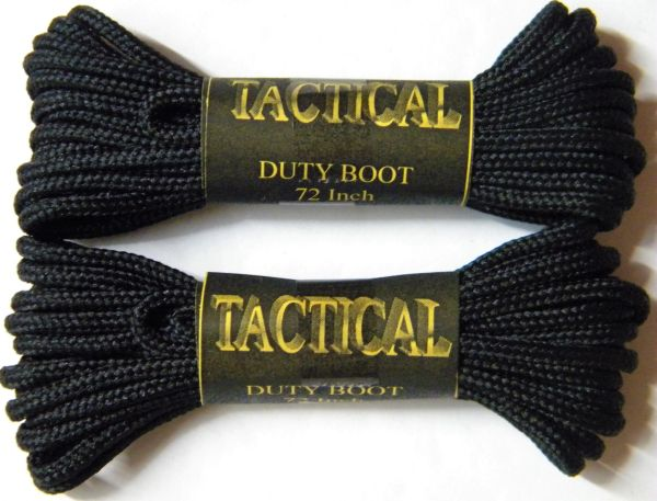2 pair pack- Black, Durable Polyester, Narrow 2mm thick, Tactical Boot Laces