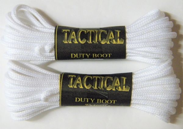 2 pair pack- White, Durable Polyester, Narrow 2mm thick, Tactical Boot Laces