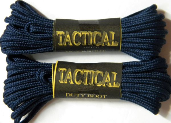 2 pair pack- Navy Blue, Durable Polyester, Narrow 2mm thick, Tactical Boot Laces