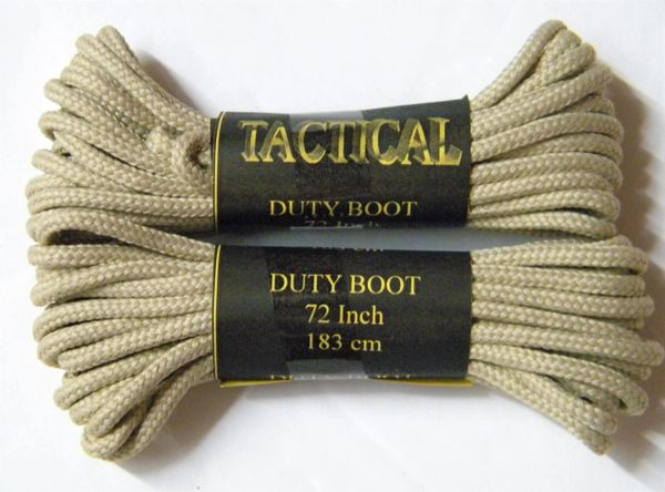 2 pair pack- Light Tan, Durable Polyester, Narrow 2mm thick, Tactical Boot Laces