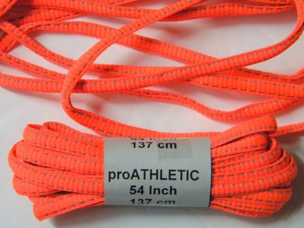 2 pair pack- Hot Coral, Reflective, Oval style Athletic sneaker shoelaces