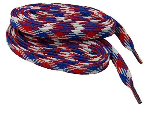 2 Pair Pack- Red White Blue Argyle, Hiker Boot Shoelaces 10mm Extra Durable extremeMAX(tm) Flat