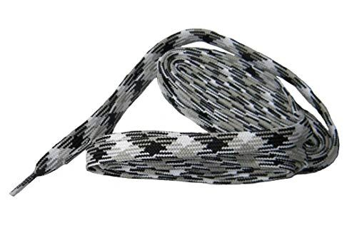 2 Pair Pack- White Grey Black Argyle, Hiker Boot Shoelaces 10mm Extra Durable extremeMAX(tm) Flat
