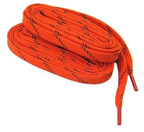 2 Pair Pack- Pumpkin Orange w/ Black, Hiker Boot Shoelaces 10mm Extra Durable extremeMAX(tm) Flat