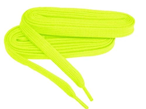 2 Pair Pack- Hot Yellow, Hiker Boot Shoelaces 10mm Extra Durable extremeMAX(tm) Flat
