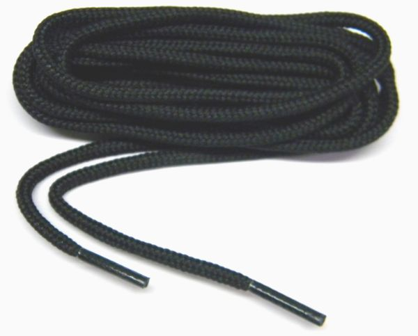 2 Pair Pack - proBOOT™ Solid Coal Black Rugged Wear Long-Lasting Round 100% Polyester Boot Shoelaces Shoestrings