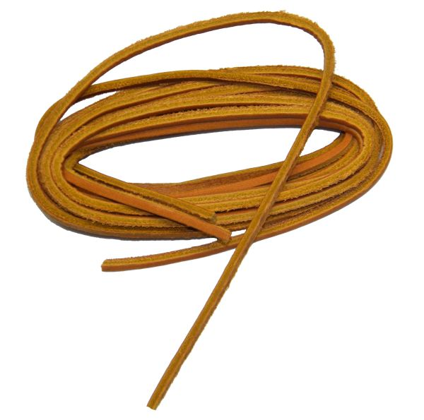 Tan Leather Laces for all Quality Footwear Boat Shoes 1/8 Inch Square cut Rawhide