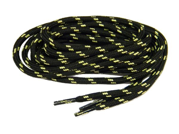 "ProTOUGH(tm) ""Black w/ Yellow-Natural"" Kevlar Reinforced Heavy Duty Boot Laces - 2 Pair Pack"
