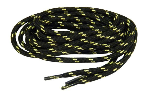 24 Pair Case Pack Black w/ Yellow ProTOUGH Kevlar reinforced Boot Shoelaces