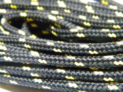 25' Feet Black w/ Yellow Heavy duty Kevlar(R) Reinforced Tie down Cord Utility String with black metal tips