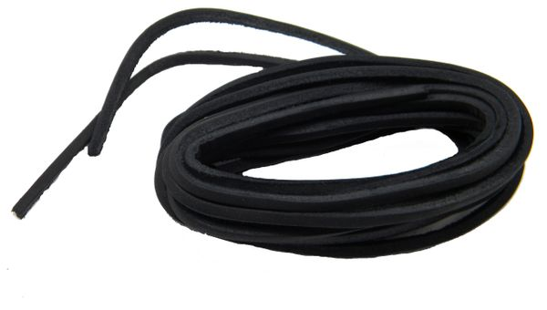 Fresh Black COUGAR Leather Laces for Hi-top Boots and All Quality Footwear 1/8 inch square cut