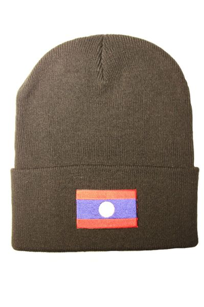 LAOS Country Flag BRIM Knitted HAT CAP choose your color BLACK, WHITE, RED, PINK, BLUE... NEW