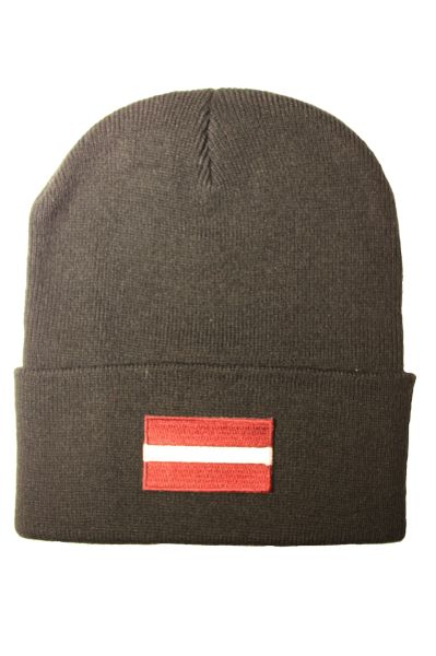 LATVIA - Country Flag BRIM Knitted HAT CAP choose your color BLACK, WHITE, RED, PINK, BLUE... NEW
