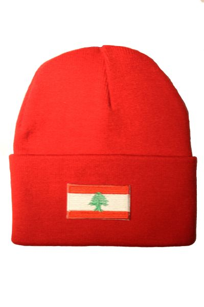 LEBANON - Country Flag BRIM Knitted HAT CAP choose your color BLACK, WHITE, RED, PINK, BLUE... NEW