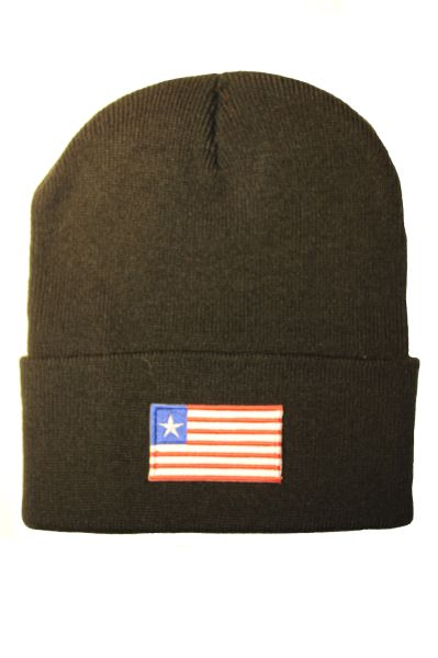 LIBERIA - Country Flag BRIM Knitted HAT CAP choose your color BLACK, WHITE, RED, PINK, BLUE... NEW