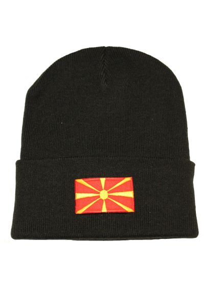 MACEDONIA - Country Flag BRIM Knitted HAT CAP choose your color BLACK, WHITE, RED, PINK, BLUE... NEW
