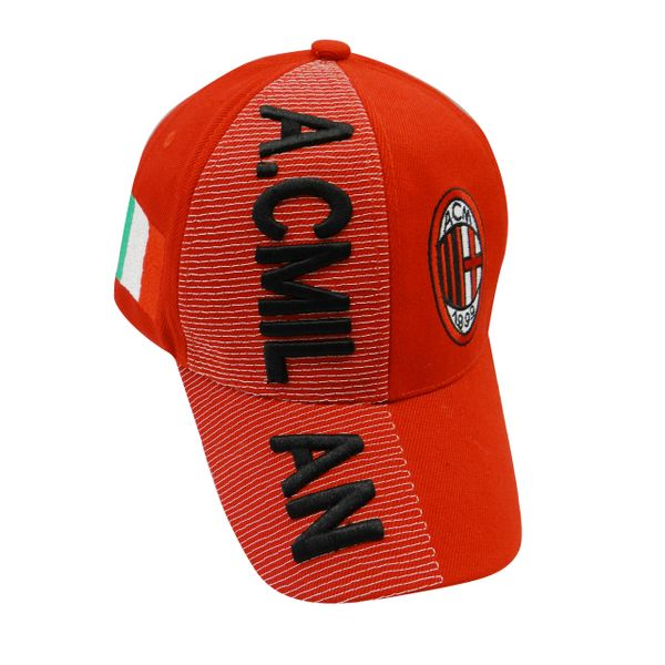 A.C. MILAN RED COUNTRY FLAG WITH LOGO FIFA SOCCER WORLD CUP EMBOSSED HAT CAP .. HIGH QUALITY .. NEW