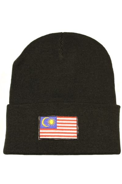 MALAYSIA - Country Flag BRIM Knitted HAT CAP choose your color BLACK, WHITE, RED, PINK, BLUE... NEW