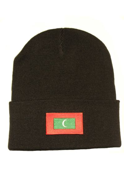 MALDIVES - Country Flag BRIM Knitted HAT CAP choose your color BLACK, WHITE, RED, PINK, BLUE... NEW