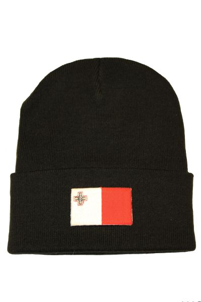 MALTA - Country Flag BRIM Knitted HAT CAP choose your color BLACK, WHITE, RED, PINK, BLUE... NEW