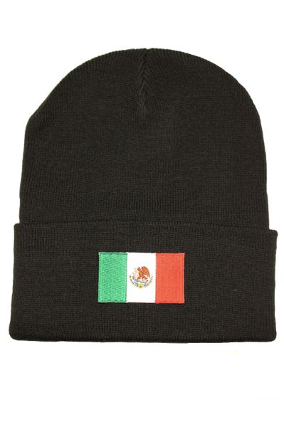 MEXICO - Country Flag BRIM Knitted HAT CAP choose your color BLACK, WHITE, RED, PINK, BLUE... NEW