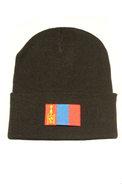 MONGOLIA - Country Flag BRIM Knitted HAT CAP choose your color BLACK, WHITE, RED, PINK, BLUE... NEW