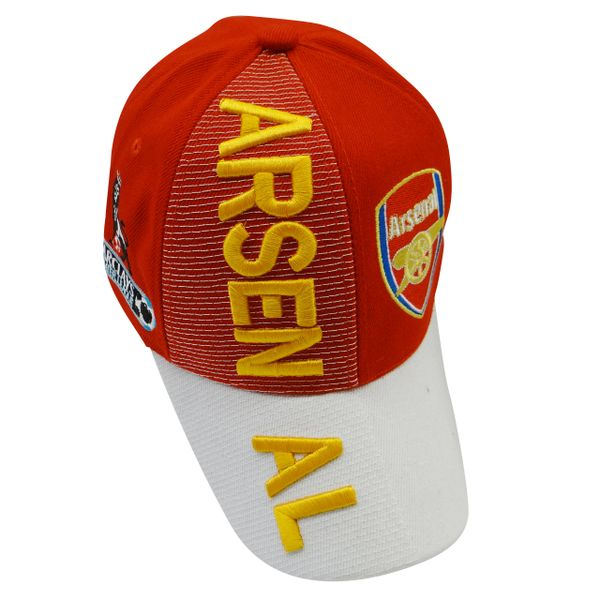 ARSENAL RED WHITE WITH LOGO FIFA SOCCER WORLD CUP EMBOSSED HAT CAP .. HIGH QUALITY .. NEW