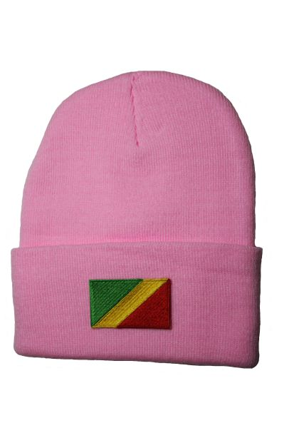 REPUBLIC OF CONGO - Country Flag BRIM Knitted HAT CAP choose your color BLACK, WHITE, RED, PINK, BLUE... NEW