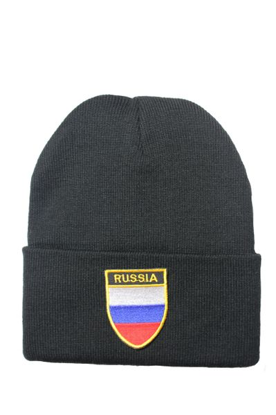 RUSSIA - Country Flag BRIM Knitted HAT CAP choose your color BLACK, WHITE, RED, PINK, BLUE... NEW