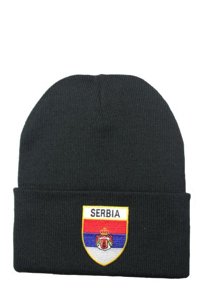 SERBIA - Country Flag BRIM Knitted HAT CAP choose your color BLACK, WHITE, RED, PINK, BLUE... NEW