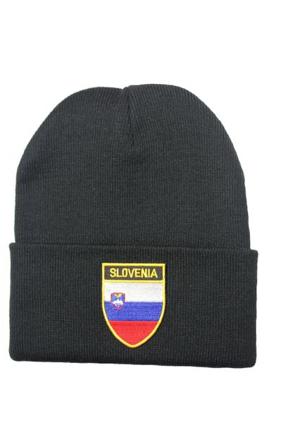 SLOVENIA - Country Flag BRIM Knitted HAT CAP choose your color BLACK, WHITE, RED, PINK, BLUE... NEW