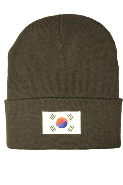 KOREA SOUTH Country Flag BRIM Knitted HAT CAP choose your color BLACK, WHITE, RED, PINK, BLUE... NEW