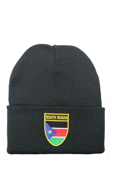 SOUTH SUDAN - Country Flag BRIM Knitted HAT CAP choose your color BLACK, WHITE, RED, PINK, BLUE... NEW