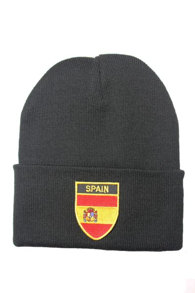SPAIN - Country Flag BRIM Knitted HAT CAP choose your color BLACK, WHITE, RED, PINK, BLUE... NEW