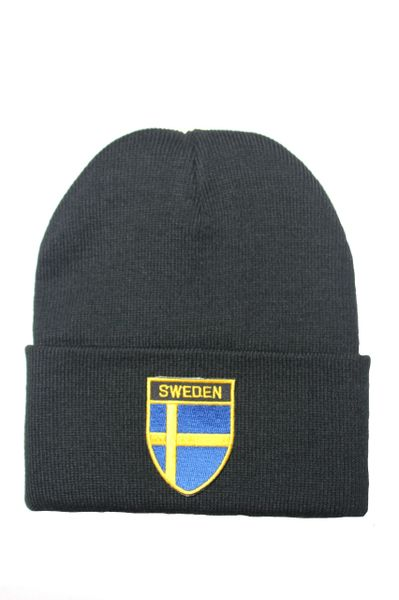 SWEDEN - Country Flag BRIM Knitted HAT CAP choose your color BLACK, WHITE, RED, PINK, BLUE... NEW