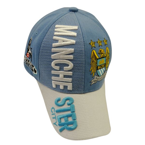 MANCHESTER CITY BLUE WHITE WITH LOGO FIFA SOCCER WORLD CUP EMBOSSED HAT CAP .. HIGH QUALITY .. NEW