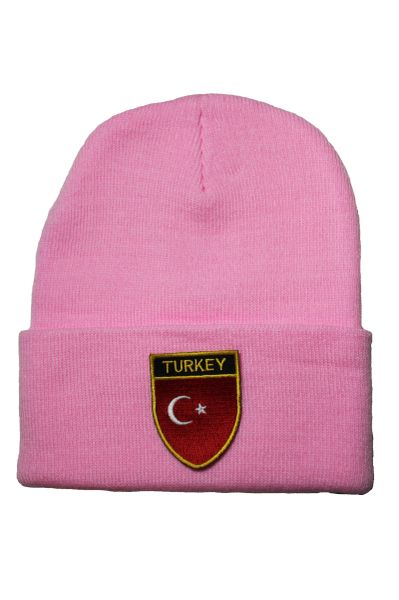 TURKEY - Country Flag BRIM Knitted HAT CAP choose your color BLACK, WHITE, RED, PINK, BLUE... NEW