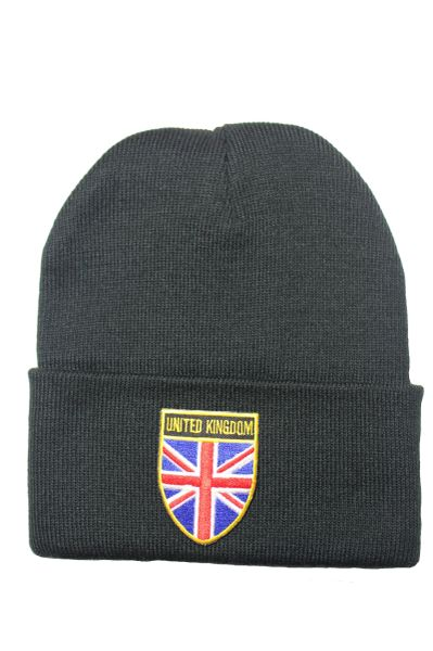 UK - Country Flag BRIM Knitted HAT CAP choose your color BLACK, WHITE, RED, PINK, BLUE... NEW