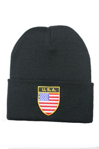 USA - Country Flag BRIM Knitted HAT CAP choose your color BLACK, WHITE, RED, PINK, BLUE... NEW