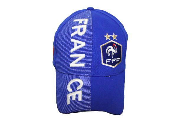 France 2 Stars, FFF Logo FIFA World Cup Blue Embossed HAT Cap New