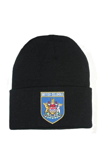 British Columbia Blue Shield Shape Patched Toque HAT .Colors Available : Black, Red, Blue Pink.New